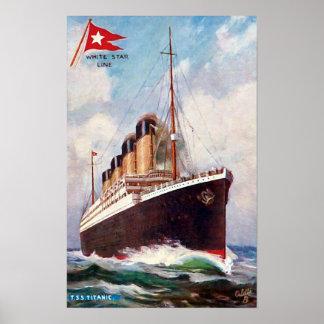 Titanic White Star Line Painting Poster