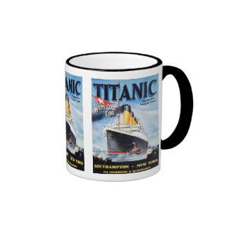 Titanic White Star Line Poster Ringer Mug