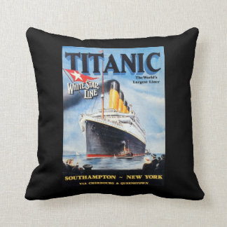 Titanic White Star Line Poster Throw Pillow