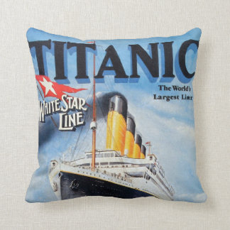 Titanic White Star Line Poster Throw Pillow