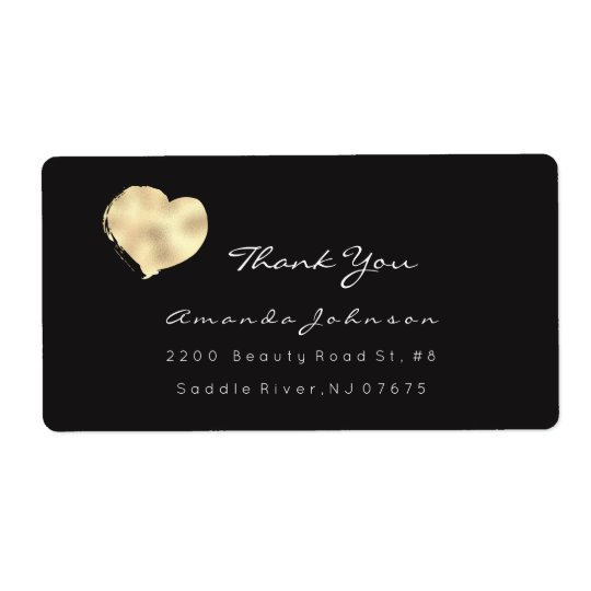 Titanium Ivory White Black Painted Heart Thank You Shipping Label