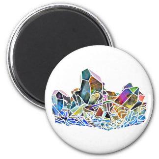 Titanium Quartz Healing Crystal Art Rainbow Aura 2 Inch Round Magnet