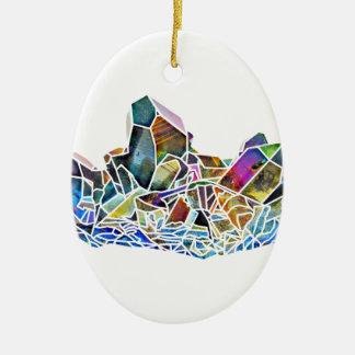 Titanium Quartz Healing Crystal Art Rainbow Aura Ceramic Ornament
