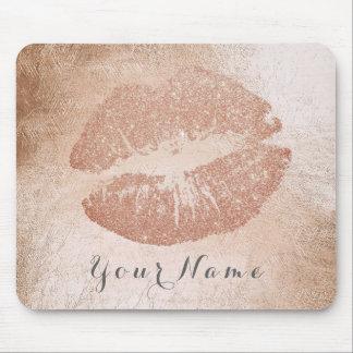 Titanium Rose Gold Metal Name Makeup Lips Kiss Mouse Pad