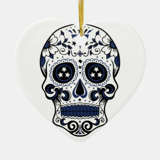 Titans Sugar Skull Ceramic Heart Ornament