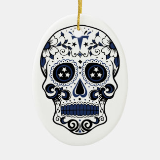 Titans Sugar Skull Ceramic Oval Ornament