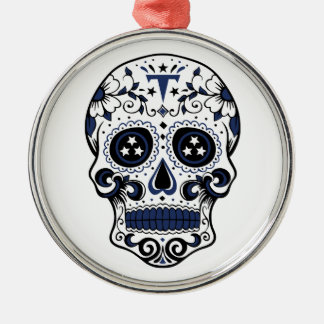 Titans Sugar Skull Silver-Colored Round Ornament