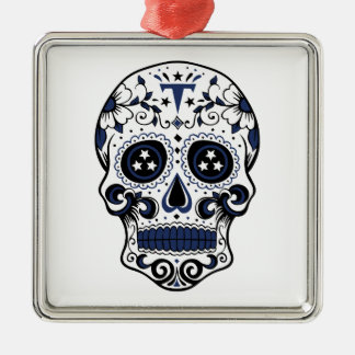 Titans Sugar Skull Silver-Colored Square Ornament