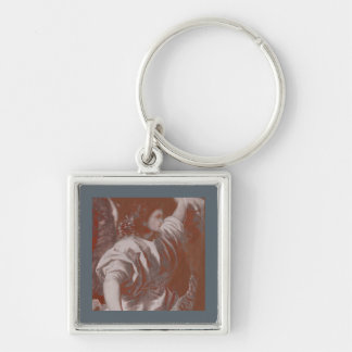 Titian Annunciation Angel with Banner Silver-Colored Square Keychain