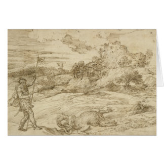 Titian - Landscape with St. Theodore Overcoming Card