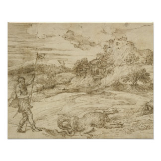 Titian - Landscape with St. Theodore Overcoming Poster