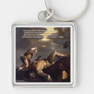 Titian Quote & David/Goliath Painting Gifts Silver-Colored Square Keychain