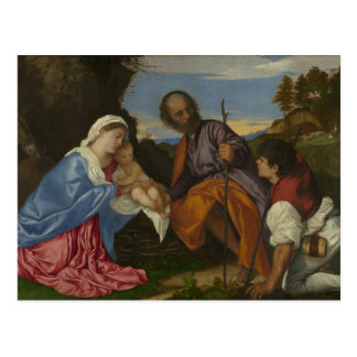 Titian - The Holy Family with a Shepherd Postcard