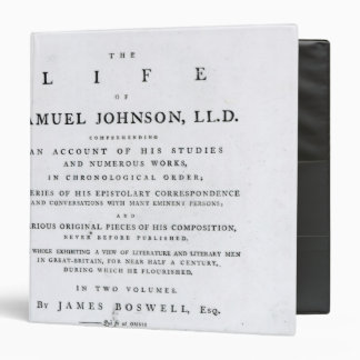 Title page, from 'The Life of Samuel Johnson' 3 Ring Binder