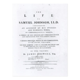 Title page, from 'The Life of Samuel Johnson' Postcard