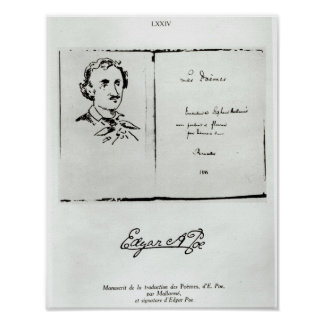 Title Page of 'Les Poemes' by Edgar Allan Poe Poster