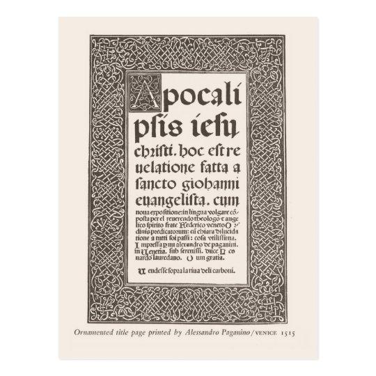 Title page, Venice 1515 Postcard