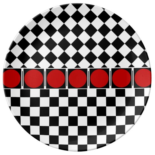 TITLE: Stylish Black White Half Diamond Checkers r Plate