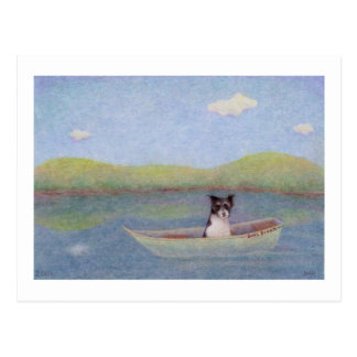 Titled: Bob's Dream - Dog adrift alone in a boat Postcard