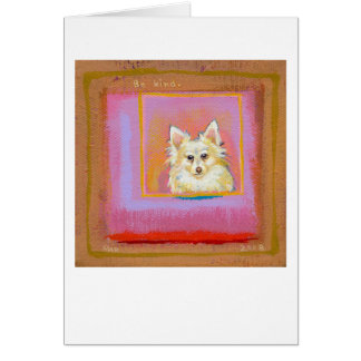 Titled:  Dearly Loved - adorable white pomeranian Card