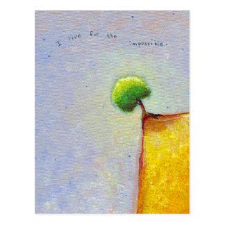 Titled:  Defiant - Tree on the edge inspirational Postcard