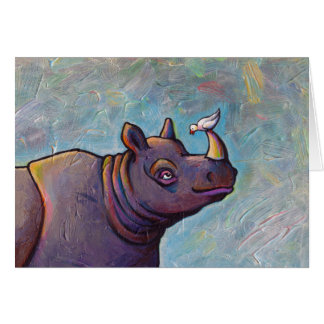 Titled:  Gossip - Rhinoceros rhino bird art Card