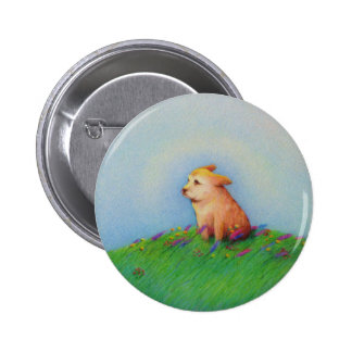 Titled:  Heaven - beautiful golden puppy dog 2 Inch Round Button