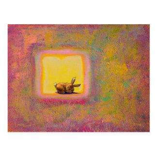 Titled:  Respite - Peaceful sleeping rabbit ART Postcard