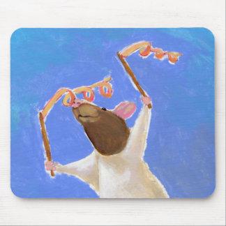 Titled:  Rhythmic Gymnastics - fun happy rat art Mouse Pad