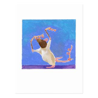Titled:  Rhythmic Gymnastics - fun happy rat art Postcard