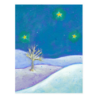Titled: Silent Night - pretty snow stars CUSTOMIZE Postcard