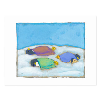 Titled:  Snoozing - adorable napping penguin art Postcard