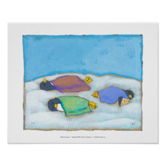 Titled:  Snoozing - adorable napping penguin art Poster