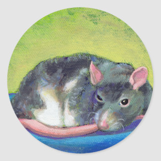 Titled:  The Guardian - Beautiful smart pet rat Classic Round Sticker