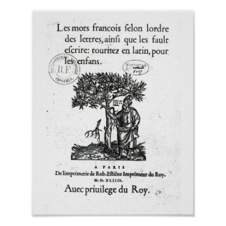 Titlepage of the first French-Latin dictionary Poster