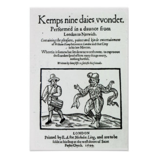 Titlepage to William Kemp's Poster