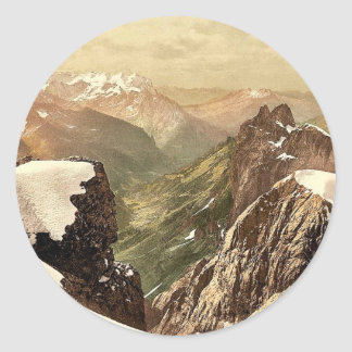 Titlis, view of the Alps, Bernese Oberland, Switze Round Sticker