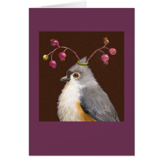 Titmouse and berries card