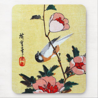 Titmouse and Peonies, Hiroshige Mouse Pad