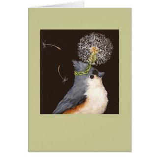 titmouse with dandelion card Leah