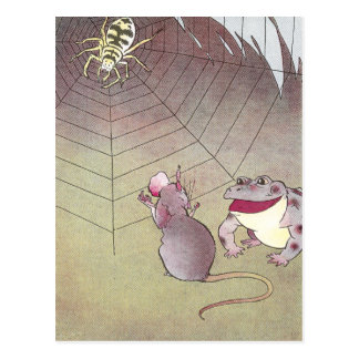 Tittle-Mouse and Garden Toad Meet Spider Postcard