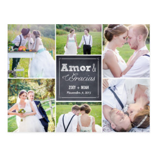Tiza boda collage le agradece las postales postcard