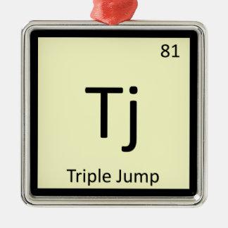 Tj - Triple Jump Track and Field Chemistry Symbol Metal Ornament