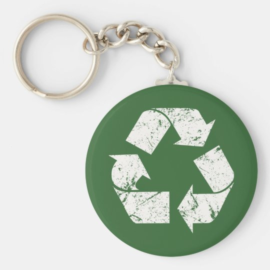 TJED Vintage White Recycle Sign On Green Basic Round Button Keychain