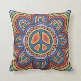 TJP Vintage Colors Peace Flower Hippie Throw Pillow