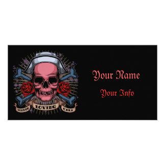 TLC Nurse Skull Personalized Photo Card