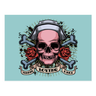 TLC Nurse Skull Postcard