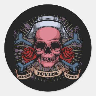 TLC Nurse Skull Round Sticker