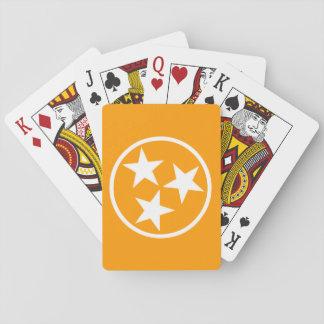 TN Stars White on Orange Playing Cards