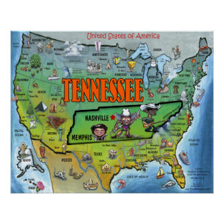 TN USA Map Poster